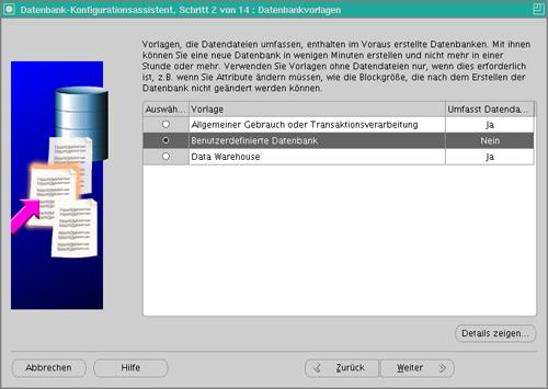 Datenbankkonfiguration Schritt 3