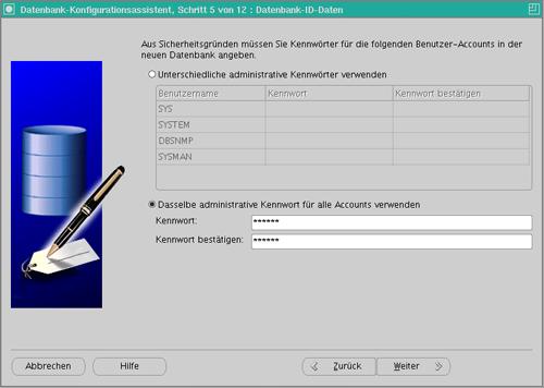 Datenbankkonfiguration Schritt 6
