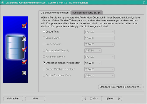 Datenbankkonfiguration Schritt 9