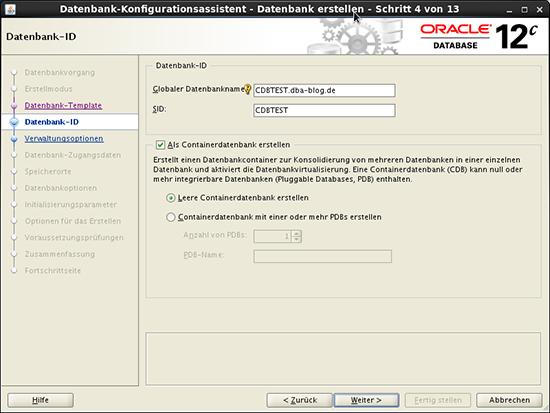 DBCA Konfiguration Seed Database